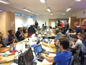 A lively hackathon in the space